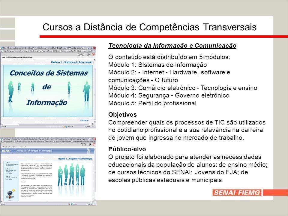 Tecnologia da Informação e Comunicação O conteúdo está distribuído em 5 módulos: Módulo 1: Sistemas de informação Módulo 2: - Internet - Hardware, sof