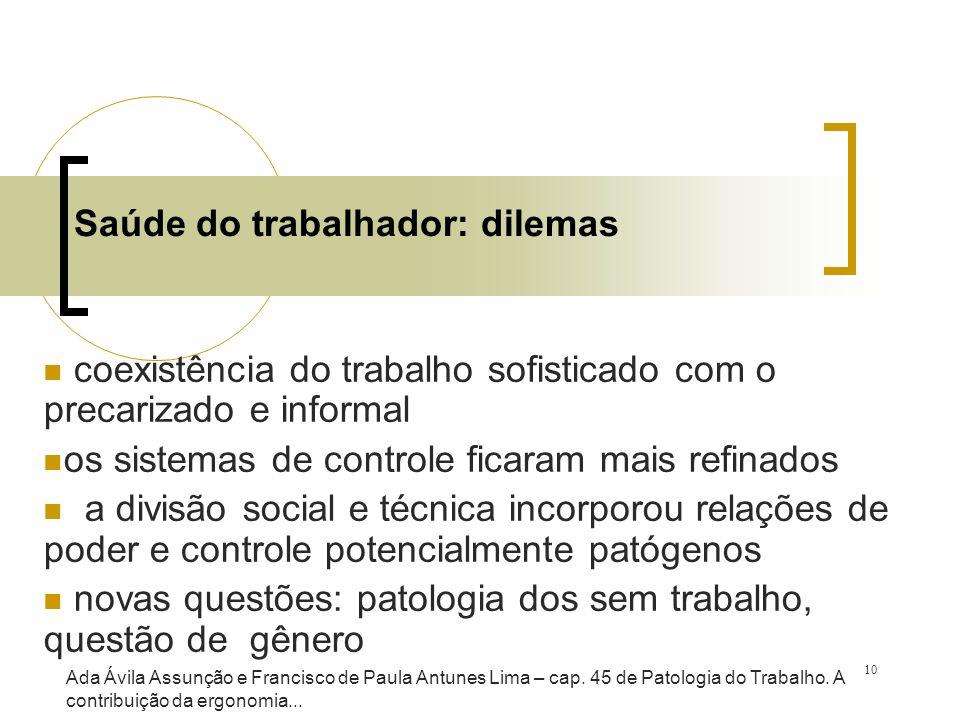 10 Saúde do trabalhador: dilemas coexistência do trabalho sofisticado com o precarizado e informal os sistemas de controle ficaram mais refinados a di