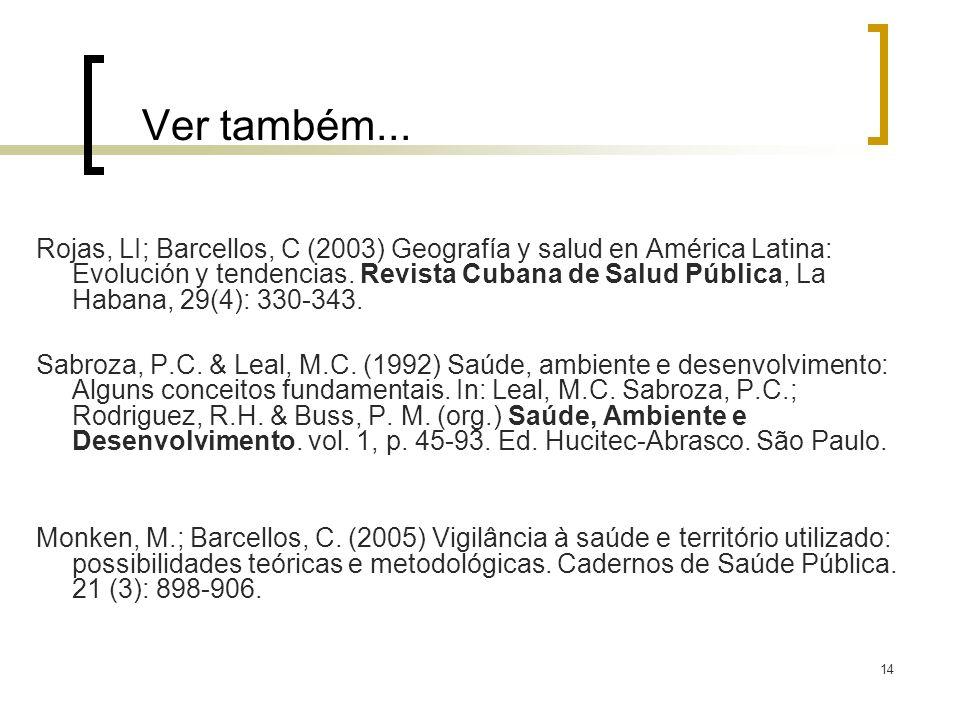 14 Ver também... Rojas, LI; Barcellos, C (2003) Geografía y salud en América Latina: Evolución y tendencias. Revista Cubana de Salud Pública, La Haban