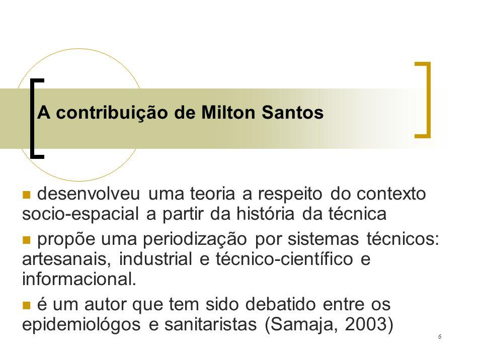 6 A contribuição de Milton Santos desenvolveu uma teoria a respeito do contexto socio-espacial a partir da história da técnica propõe uma periodização por sistemas técnicos: artesanais, industrial e técnico-científico e informacional.
