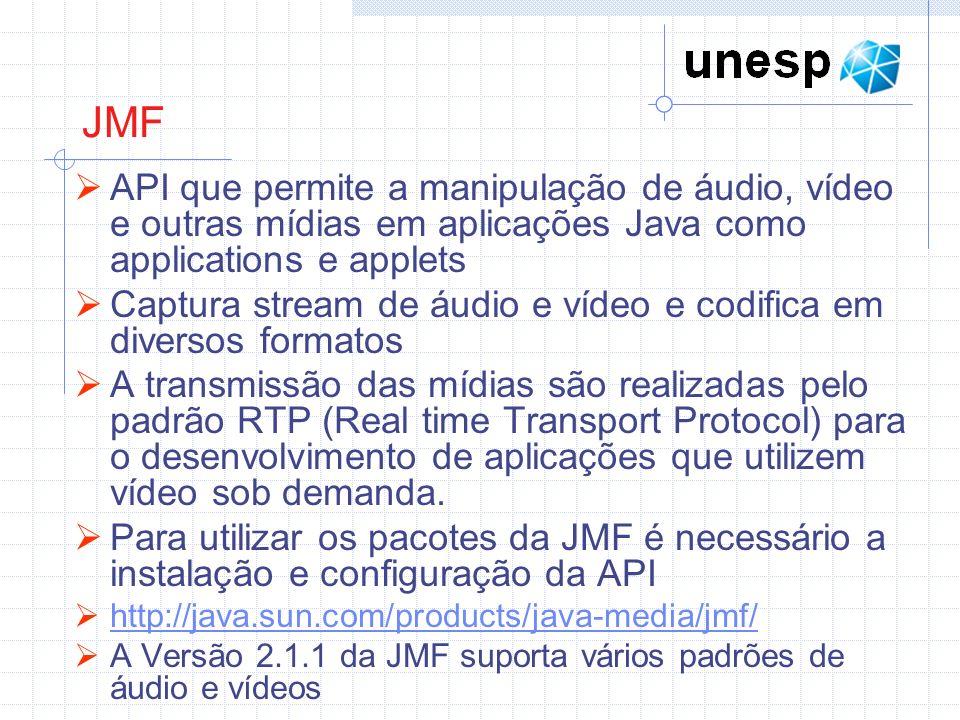 Exemplo 4: Recebe o fluxo RTP enviado // pacotes da API JMF import javax.media.Manager; import javax.media.MediaLocator; import javax.media.Player; public class ReceptorRTPAudioArquivo { public static void main(String[] args) { try { // endereço RTP para onde os pacotes foram enviados String url= rtp://200.145.185.187:5530/audio ; MediaLocator localizacao = new MediaLocator(url); // cria um objeto Player recebendo como parâmetro um objeto MediaLocator Player player = Manager.createPlayer(localizacao); player.realize(); while (player.getState() != Player.Realized){ Thread.sleep(50); } // é iniciada a reprodução do áudio recebido player.start(); } catch (Exception exc) { System.err.println(exc.toString()); System.exit(1); } System.out.println( saiu receptor ); }}