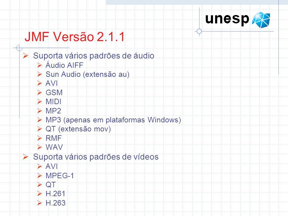 Exemplo 5: Emissor de pacotes RTP com multicast // pacotes da API JMF import java.util.Vector; import javax.media.*; import javax.media.control.*; import javax.media.format.*; import javax.media.protocol.*; public class EmissorRTPAudioMulticast { public static void main(String[] args) { try { // objeto AudioFormat é criado (fonte de áudio, amostragem de voz utilizando PCM – frequencia de 8000hz com 8 bits por amostragem) AudioFormat format = new AudioFormat(AudioFormat.LINEAR, 8000, 8, 1); // retorna um vetor contendo os dispositivos que utilizam dados seguindo a formatação passada Vector dispositivos = CaptureDeviceManager.getDeviceList(format); CaptureDeviceInfo info = null; if (dispositivos.size() > 0) // conversão explicita entre o tipo do elemento (único) e a classe CaptureDeviceInfo info = (CaptureDeviceInfo)dispositivos.elementAt (0); Processor processor = null; processor = Manager.createProcessor(info.getLocator()); processor.configure(); while (processor.getState() != Processor.Configured) { Thread.sleep(100);}