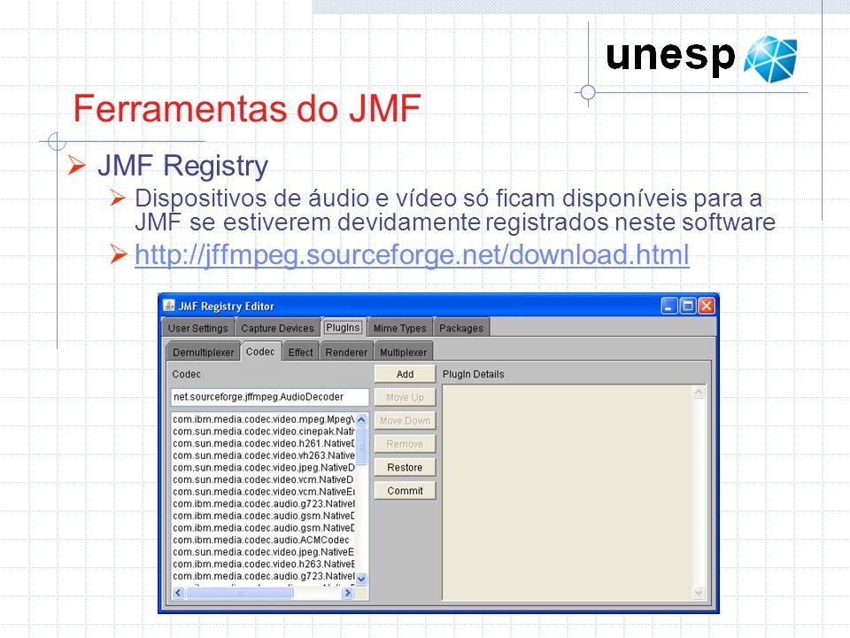 Exemplo 1: Lê um arquivo de áudio e reproduz o conteúdo // pacotes da API JMF import javax.media.*; import java.io.*; import javax.swing.*; public class TocarAudio { Player audioPlayer = null; public TocarAudio (File arquivo){ try { audioPlayer = Manager.createRealizedPlayer(arquivo.toURI().toURL()); } catch (Exception exc) { System.err.println (exc.toString()); } static public void main (String args[]) { String entrada = JOptionPane.showInputDialog(null, Digite o nome do arquivo. ); File arquivo = new File(entrada); TocarAudio tocar = new TocarAudio(arquivo); tocar.play(); } public void play() { audioPlayer.start(); } public void stop() { audioPlayer.stop(); audioPlayer.close(); }