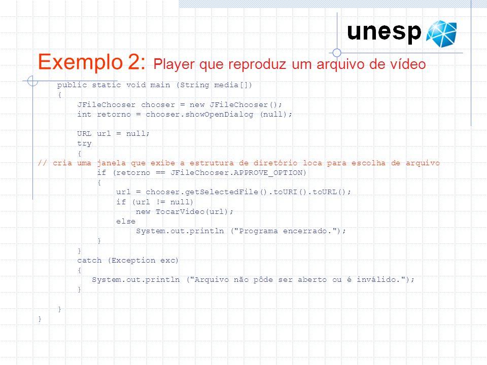 JMF em Tempo Real Para transmitir áudio e vídeo tem tempo real utilizando a API JMF três etapas precisam ser seguidas Captura de mídia (Classe DataSource) Representa uma fonte de mídia, que pode ser um arquivo ou um periférico especializado, como um microfone ou uma cãmera A classe MediaLocator pode ser utilizada para indicar a localização de um arquivo Processamento A fonte de dados disponibilizada por um objeto DataSource deve ser processada por um objeto da classe Processor que define os formatos de codificação das mídias e encapsulamento RTP.