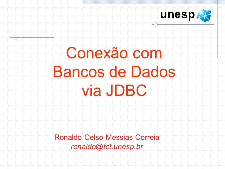 Ronaldo Celso Messias Correia ronaldo@fct.unesp.br Conexão com Bancos de Dados via JDBC
