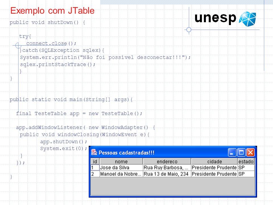 Exemplo com JTable public void shutDown() { try{ connect.close(); }catch(SQLException sqlex){ System.err.println(