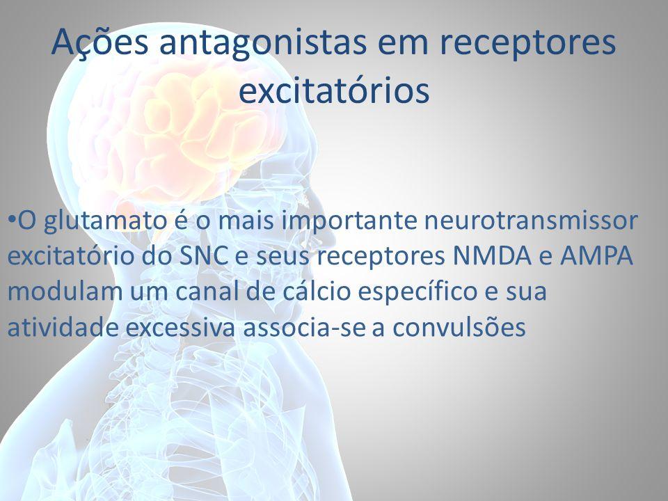 Ações antagonistas em receptores excitatórios O glutamato é o mais importante neurotransmissor excitatório do SNC e seus receptores NMDA e AMPA modula