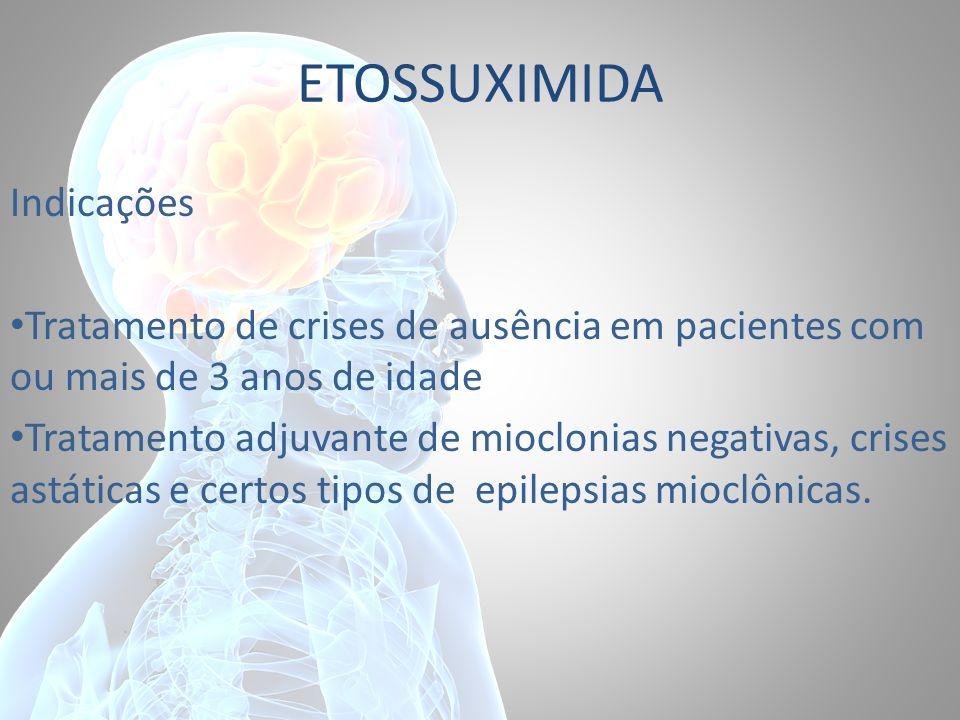 ETOSSUXIMIDA Indicações Tratamento de crises de ausência em pacientes com ou mais de 3 anos de idade Tratamento adjuvante de mioclonias negativas, cri