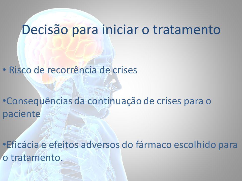 Decisão para iniciar o tratamento Risco de recorrência de crises Consequências da continuação de crises para o paciente Eficácia e efeitos adversos do