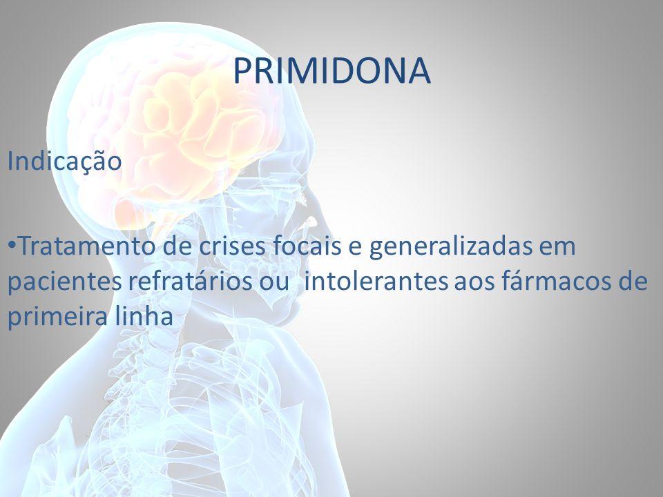 PRIMIDONA Indicação Tratamento de crises focais e generalizadas em pacientes refratários ou intolerantes aos fármacos de primeira linha