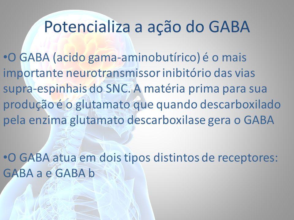 Potencializa a ação do GABA O GABA (acido gama-aminobutírico) é o mais importante neurotransmissor inibitório das vias supra-espinhais do SNC. A matér