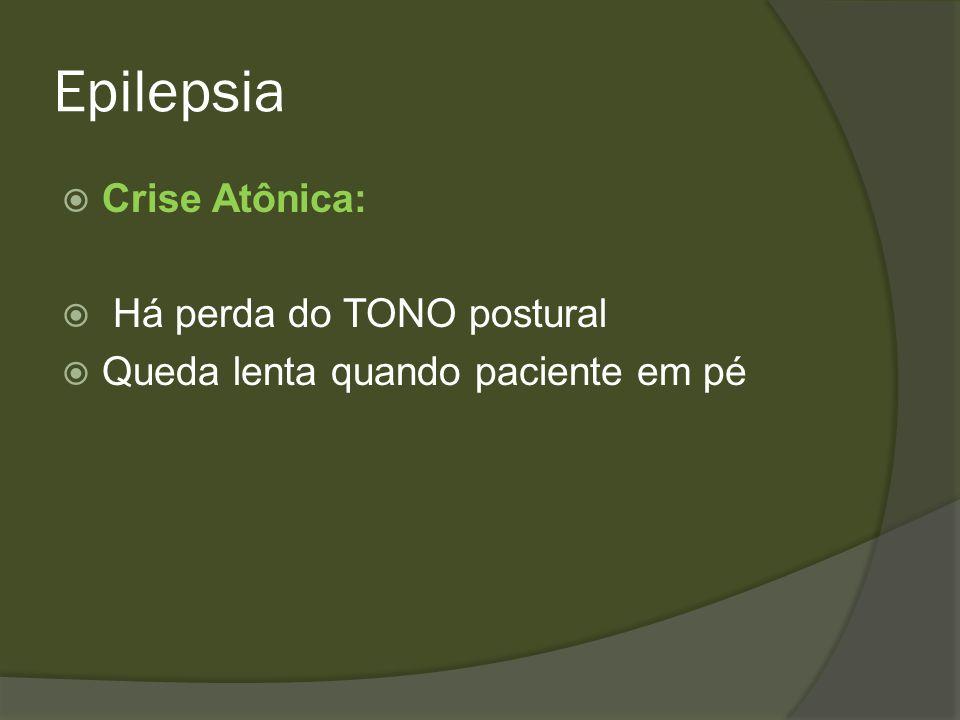Epilepsia Crises Mioclônicas Contrações musculares súbitas muito breves semelhantes a choques Podem afetar a musculatura facial, o tronco, uma extremidade ou um grupo muscular Aparece de forma isolada ou repetida Ocorrem após privação de SONO, ao despertar e ao adormecer