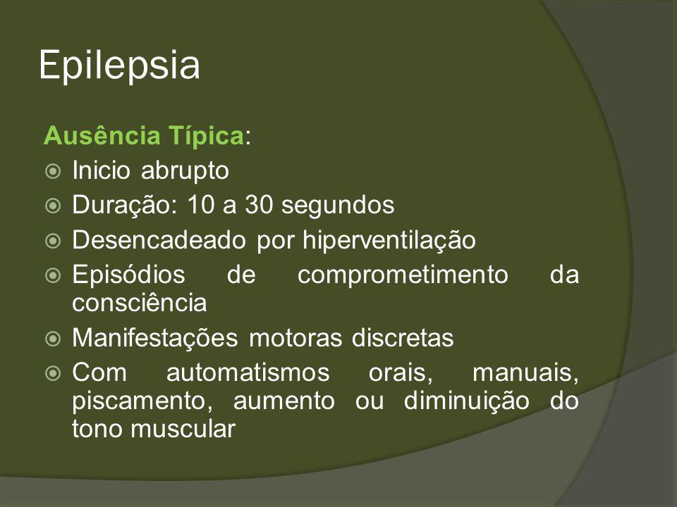 Epilepsia Conduta Avaliar diagnósticos diferenciais Classificar Crise Verificar os critérios de epilepsia Classificar a síndrome Buscar a Etiologia