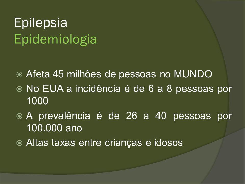 Epilepsia 70% dos adultos a crise é do tipo FOCAL 62% a causa é desconhecida 9% causado por AVE 9% causado por trauma encefálico 4% causado por doença degenerativa 6% causada por álcool 3.5% encefalopatia 3% Tumor cerebral 2% infecção