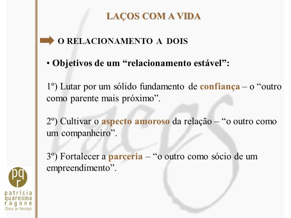 LAÇOS COM A VIDA O RELACIONAMENTO A DOIS Objetivos de um relacionamento estável: 1º) Lutar por um sólido fundamento de confiança – o outro como parent