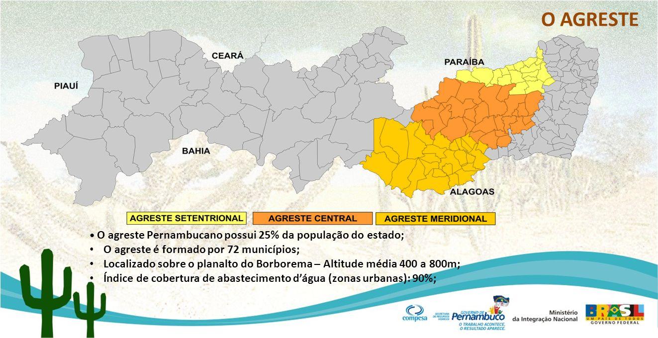O AGRESTE O agreste Pernambucano possui 25% da população do estado; O agreste é formado por 72 municípios; Localizado sobre o planalto do Borborema –
