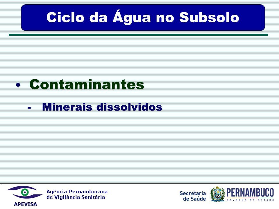 Agência Pernambucana de Vigilância Sanitária APEVISA Contaminantes Contaminantes - Minerais dissolvidos - Minerais dissolvidos Ciclo da Água no Subsol