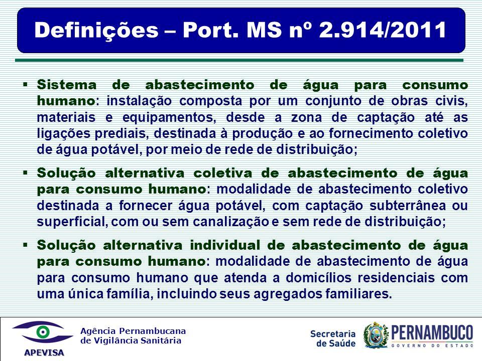 Agência Pernambucana de Vigilância Sanitária APEVISA Definições – Port. MS nº 2.914/2011 Sistema de abastecimento de água para consumo humano : instal