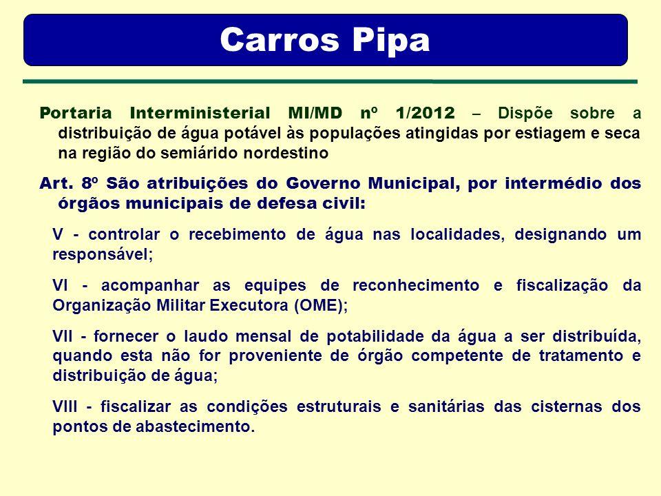 Agência Pernambucana de Vigilância Sanitária APEVISA Carros Pipa Portaria Interministerial MI/MD nº 1/2012 – Dispõe sobre a distribuição de água potáv