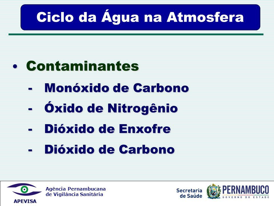 Agência Pernambucana de Vigilância Sanitária APEVISA Ciclo da Água na Atmosfera Contaminantes Contaminantes - Monóxido de Carbono - Monóxido de Carbon