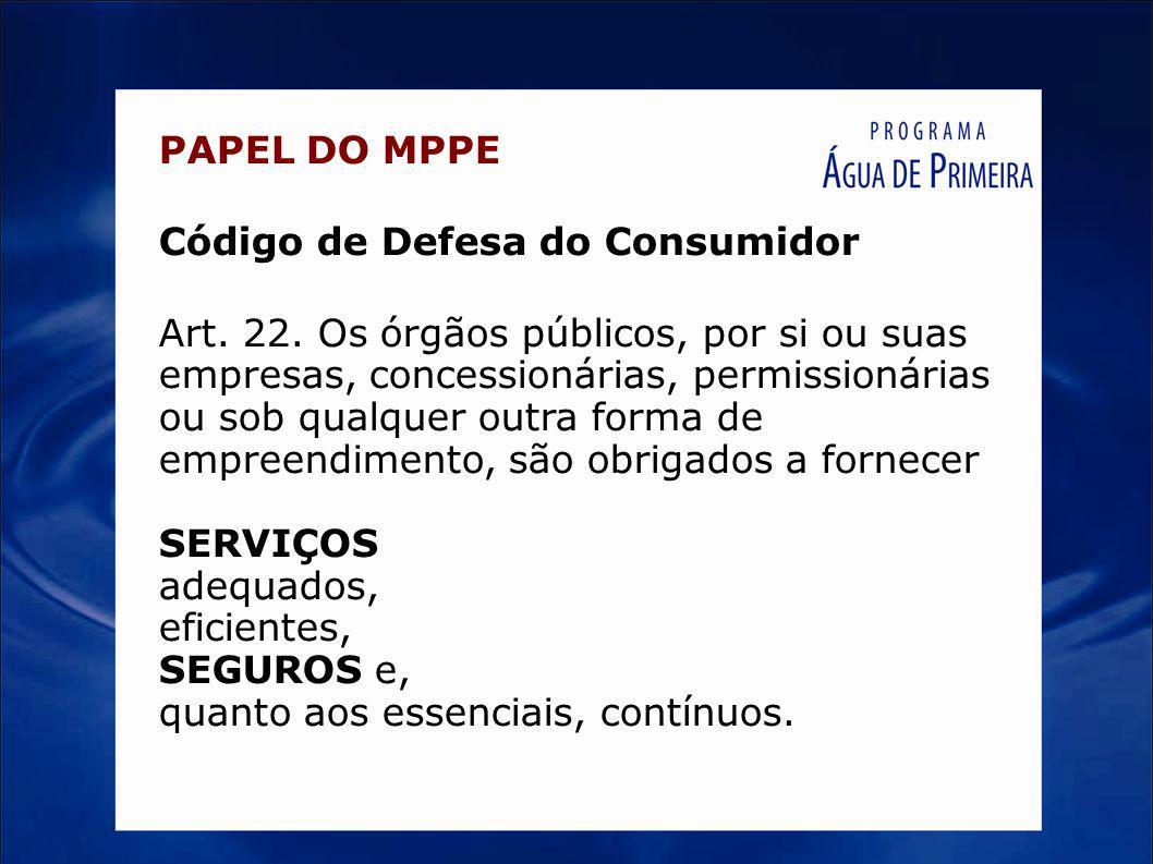 PAPEL DO MPPE Código de Defesa do Consumidor Art. 22. Os órgãos públicos, por si ou suas empresas, concessionárias, permissionárias ou sob qualquer ou