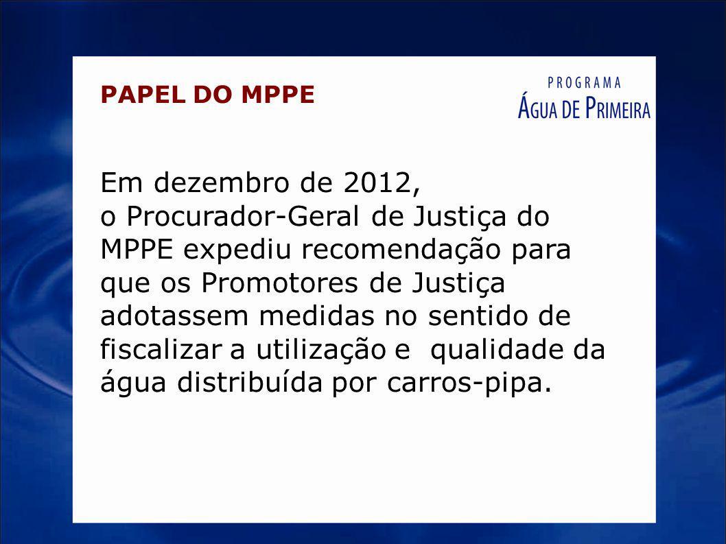 PAPEL DO MPPE Em dezembro de 2012, o Procurador-Geral de Justiça do MPPE expediu recomendação para que os Promotores de Justiça adotassem medidas no s