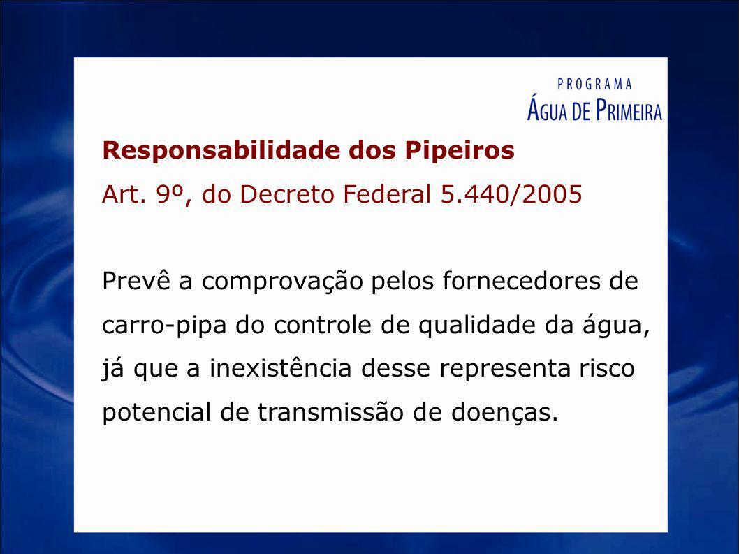 Responsabilidade dos Pipeiros Art. 9º, do Decreto Federal 5.440/2005 Prevê a comprovação pelos fornecedores de carro-pipa do controle de qualidade da