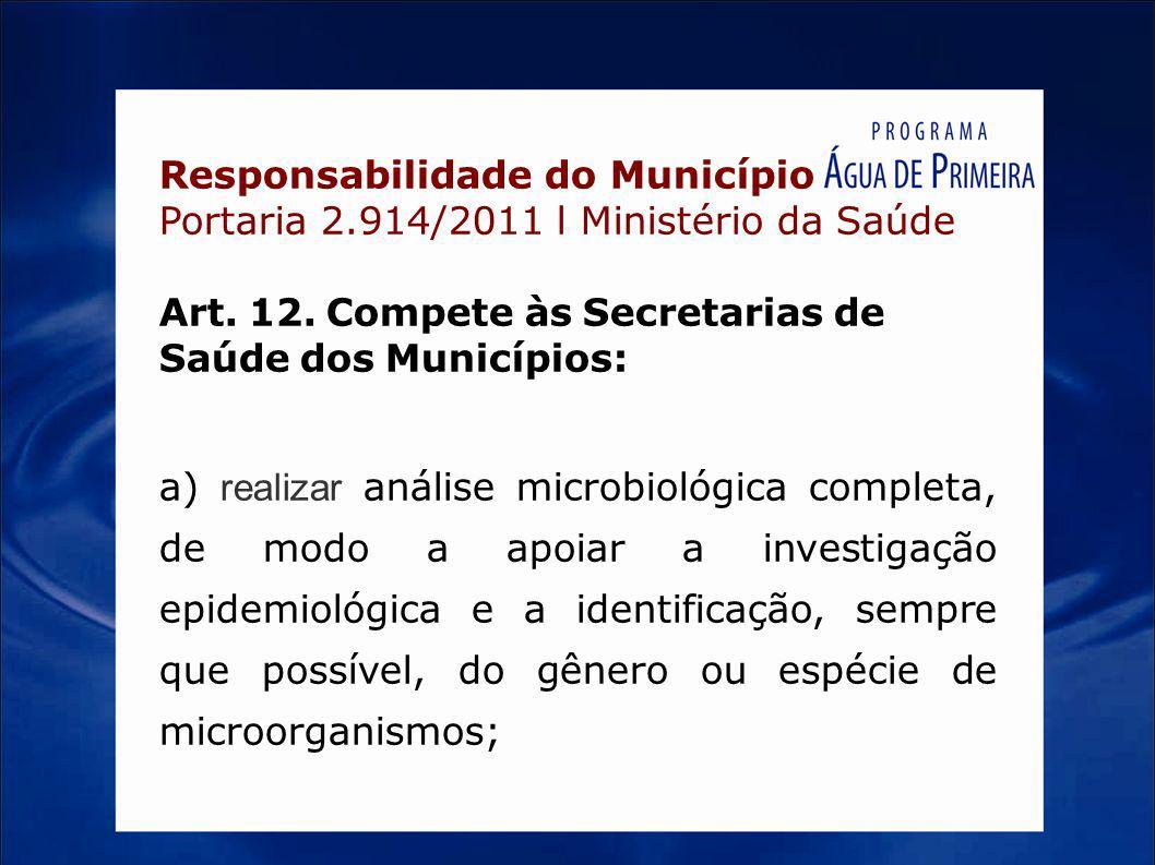 Responsabilidade do Município Portaria 2.914/2011 l Ministério da Saúde Art. 12. Compete às Secretarias de Saúde dos Municípios: a) realizar análise m
