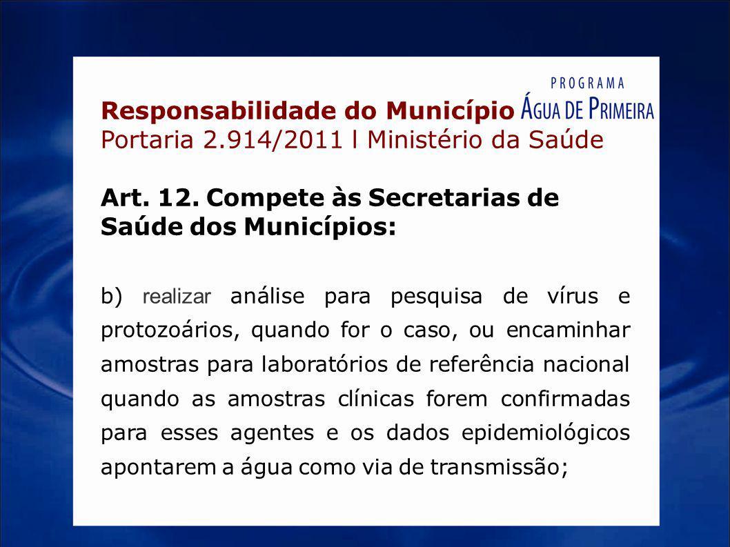 Responsabilidade do Município Portaria 2.914/2011 l Ministério da Saúde Art. 12. Compete às Secretarias de Saúde dos Municípios: b) realizar análise p