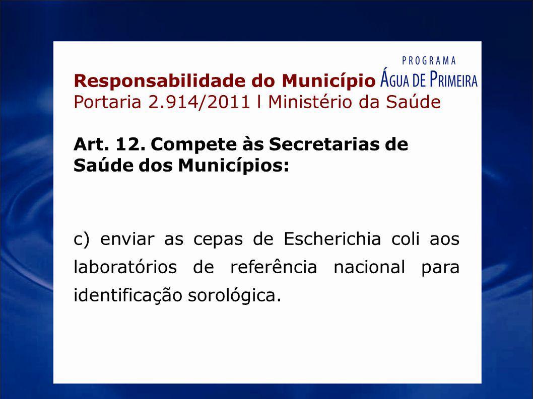 Responsabilidade do Município Portaria 2.914/2011 l Ministério da Saúde Art. 12. Compete às Secretarias de Saúde dos Municípios: c) enviar as cepas de