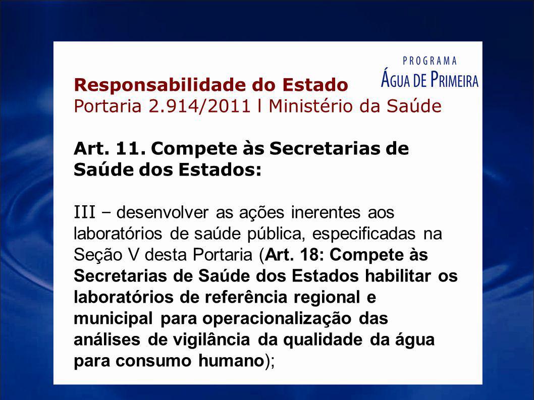 Responsabilidade do Estado Portaria 2.914/2011 l Ministério da Saúde Art. 11. Compete às Secretarias de Saúde dos Estados: III – desenvolver as ações