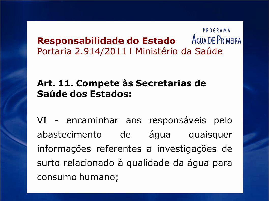 Responsabilidade do Estado Portaria 2.914/2011 l Ministério da Saúde Art. 11. Compete às Secretarias de Saúde dos Estados: VI - encaminhar aos respons