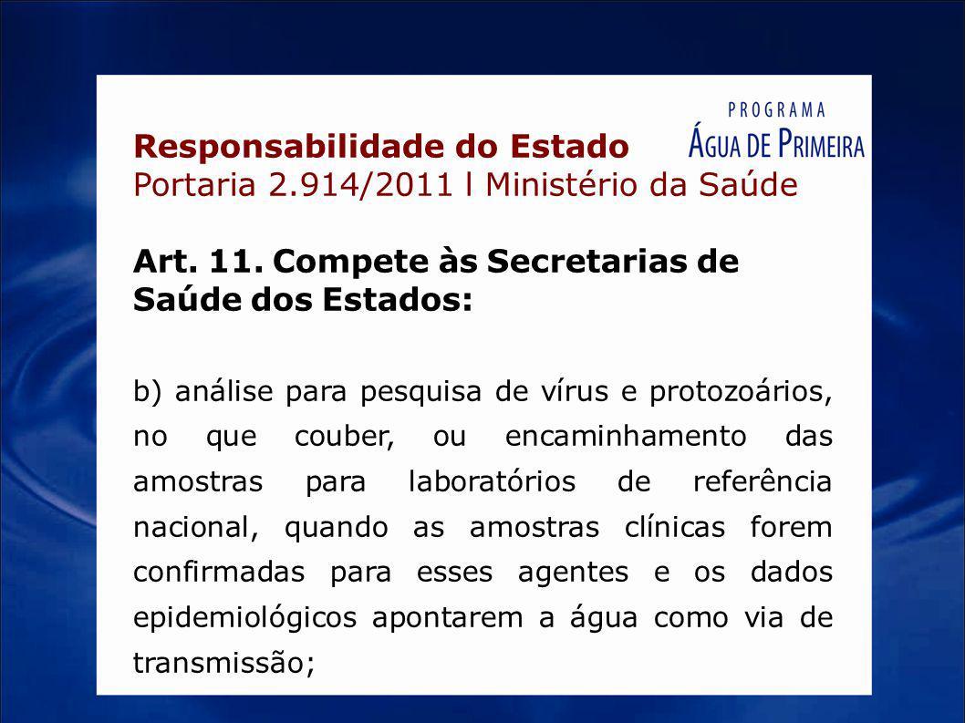 Responsabilidade do Estado Portaria 2.914/2011 l Ministério da Saúde Art. 11. Compete às Secretarias de Saúde dos Estados: b) análise para pesquisa de