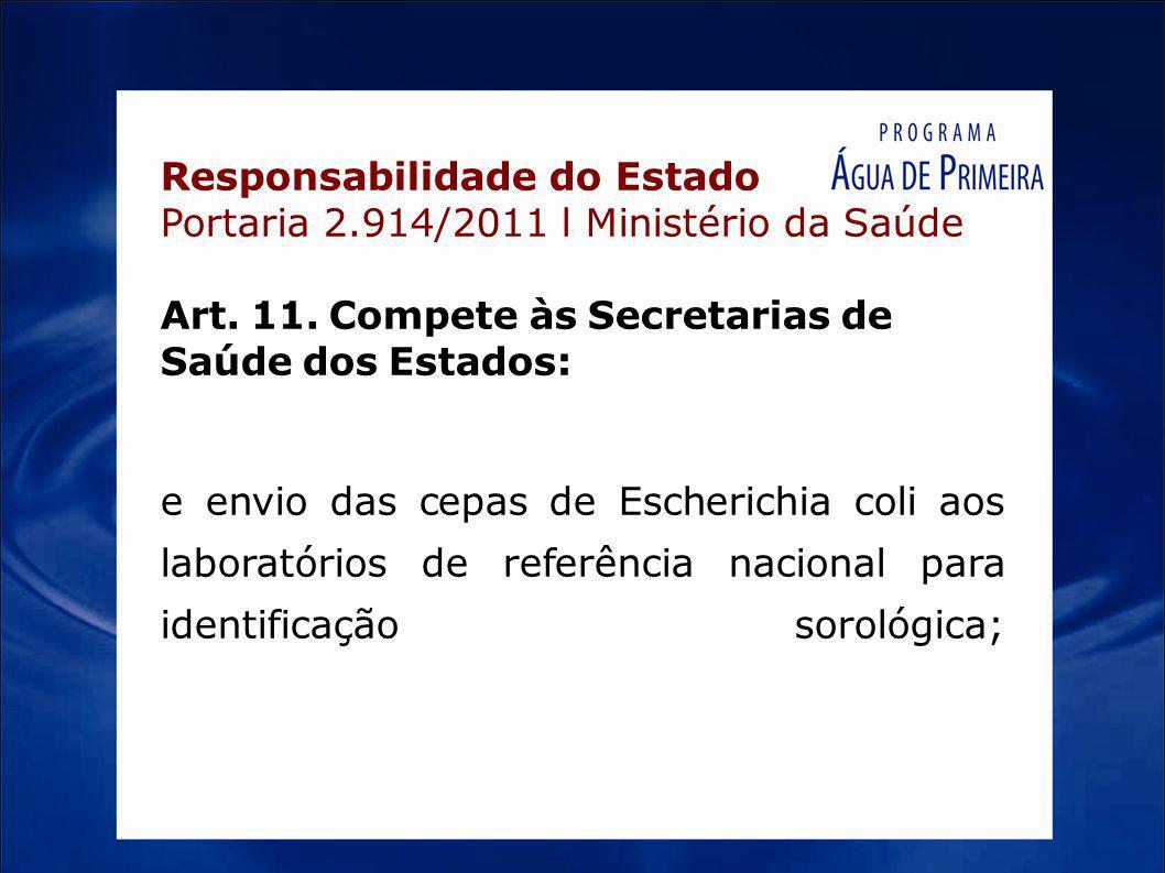 Responsabilidade do Estado Portaria 2.914/2011 l Ministério da Saúde Art. 11. Compete às Secretarias de Saúde dos Estados: e envio das cepas de Escher