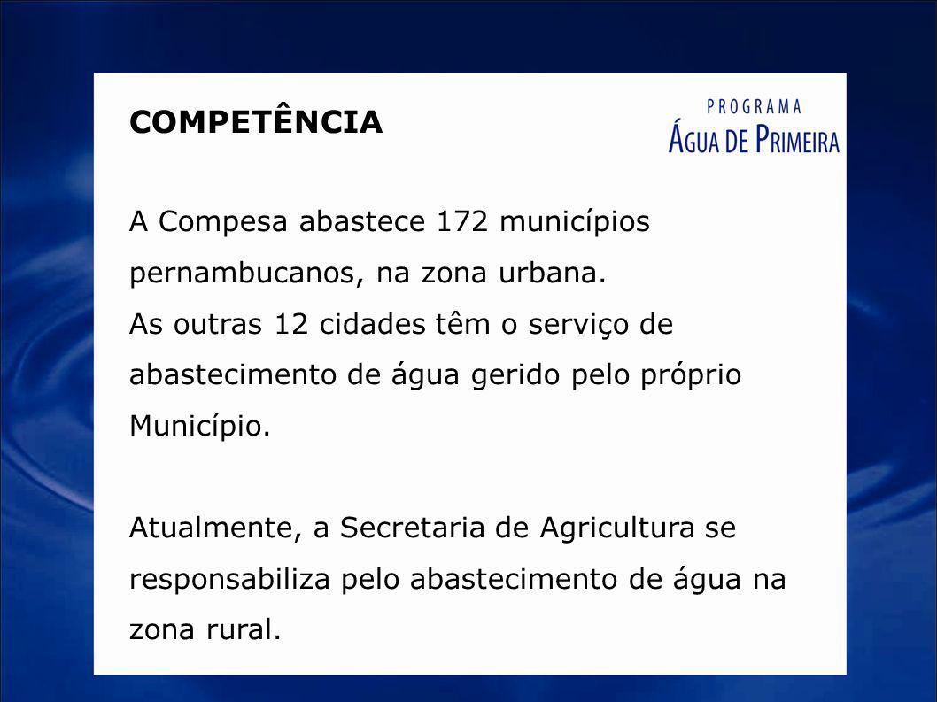 COMPETÊNCIA A Compesa abastece 172 municípios pernambucanos, na zona urbana. As outras 12 cidades têm o serviço de abastecimento de água gerido pelo p
