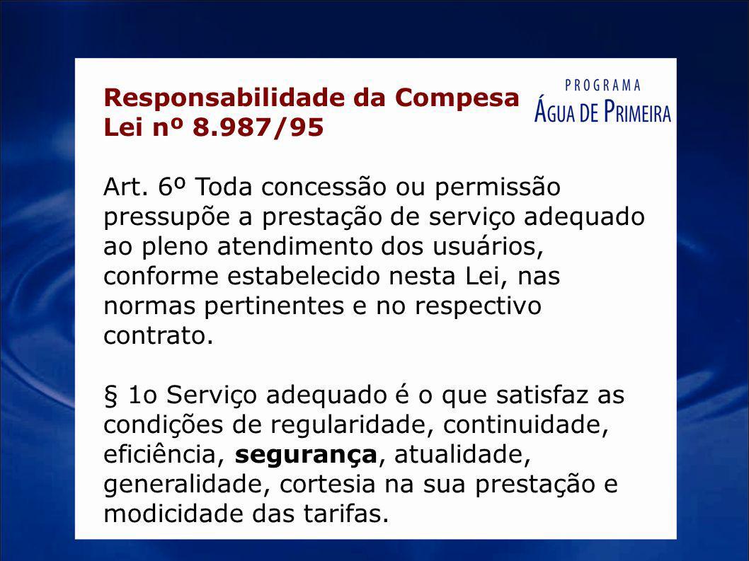 Responsabilidade da Compesa Lei nº 8.987/95 Art. 6º Toda concessão ou permissão pressupõe a prestação de serviço adequado ao pleno atendimento dos usu