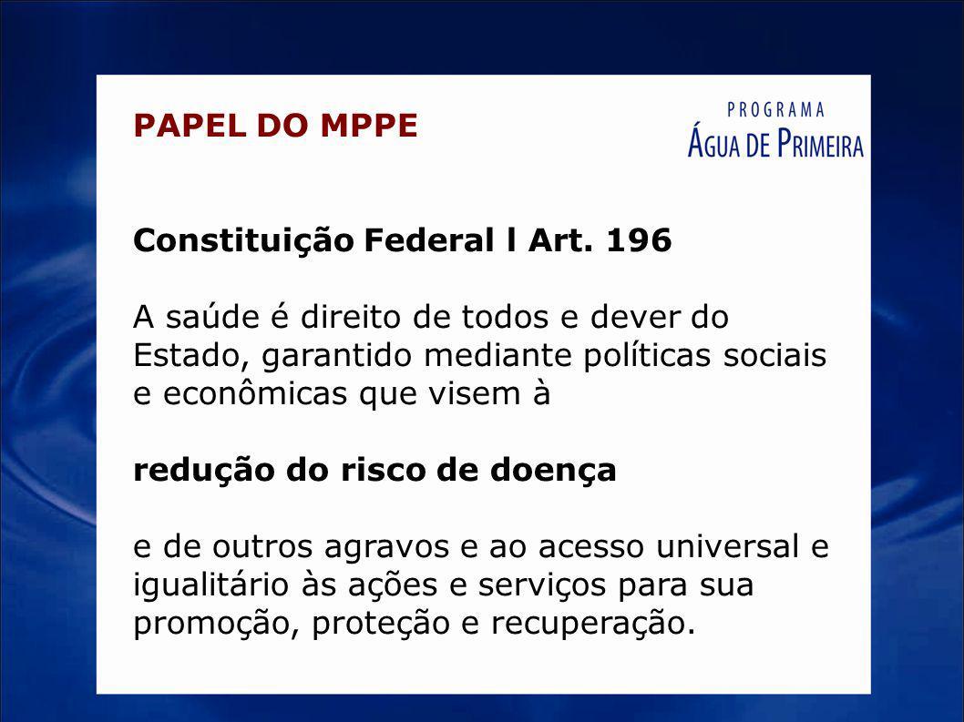 PAPEL DO MPPE Constituição Federal l Art. 196 A saúde é direito de todos e dever do Estado, garantido mediante políticas sociais e econômicas que vise