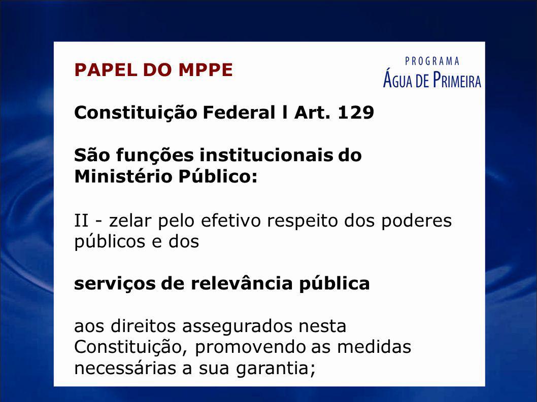 PAPEL DO MPPE Constituição Federal l Art. 129 São funções institucionais do Ministério Público: II - zelar pelo efetivo respeito dos poderes públicos