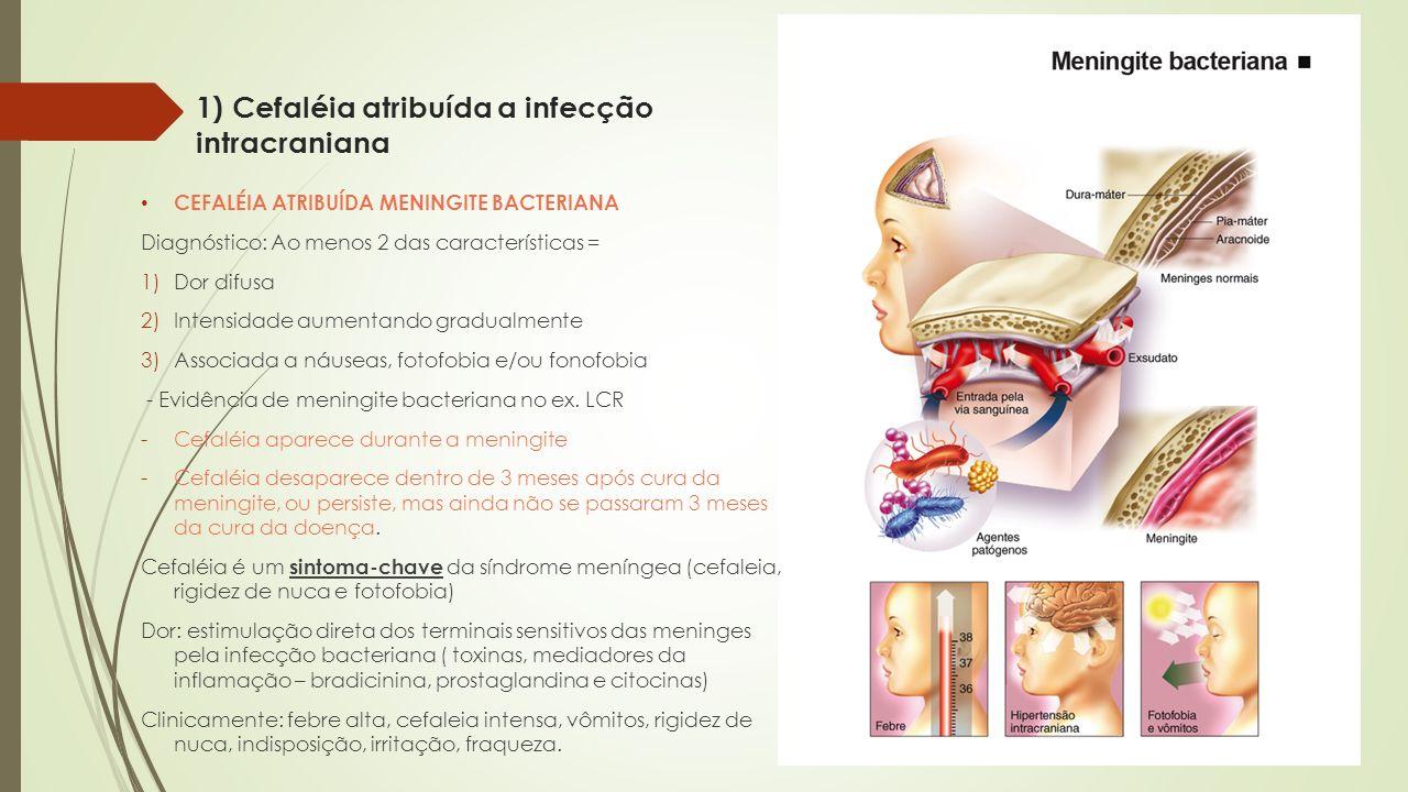 1) Cefaléia atribuída a infecção intracraniana CEFALÉIA ATRIBUÍDA MENINGITE BACTERIANA Diagnóstico: Ao menos 2 das características = 1)Dor difusa 2)In