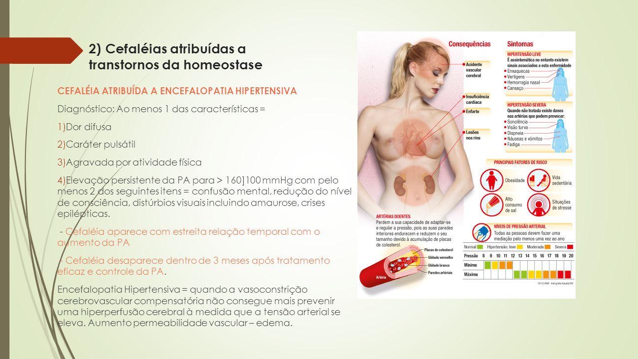 2) Cefaléias atribuídas a transtornos da homeostase CEFALÉIA ATRIBUÍDA A ENCEFALOPATIA HIPERTENSIVA Diagnóstico: Ao menos 1 das características = 1)Do
