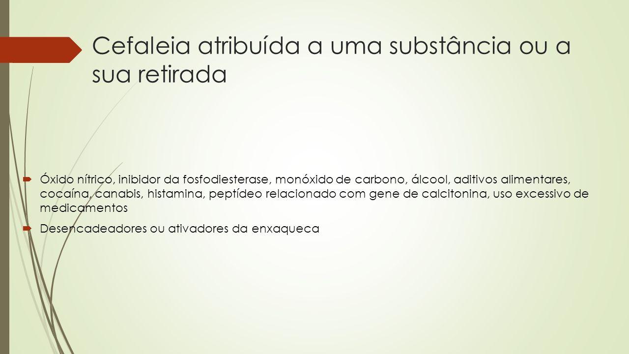 Cefaleia atribuída a uma substância ou a sua retirada Óxido nítrico, inibidor da fosfodiesterase, monóxido de carbono, álcool, aditivos alimentares, c