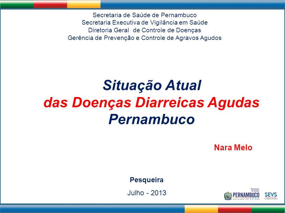 Situação Atual das Doenças Diarreicas Agudas Pernambuco Secretaria de Saúde de Pernambuco Secretaria Executiva de Vigilância em Saúde Diretoria Geral