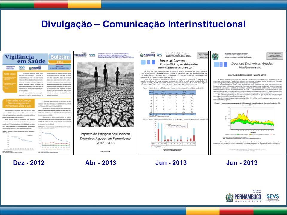 Divulgação – Comunicação Interinstitucional Dez - 2012Abr - 2013 Jun - 2013