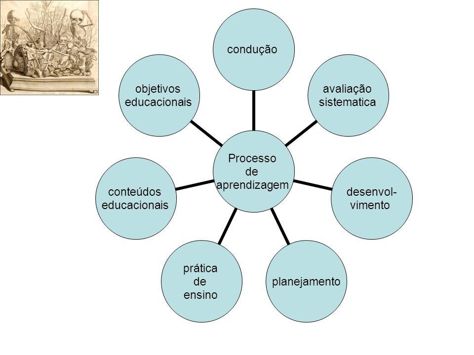 Processo de aprendizagem condução avaliação sistematica desenvol- vimento planejamento prática de ensino conteúdos educacionais objetivos educacionais