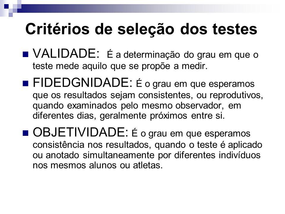 Critérios de seleção dos testes VALIDADE: É a determinação do grau em que o teste mede aquilo que se propõe a medir.