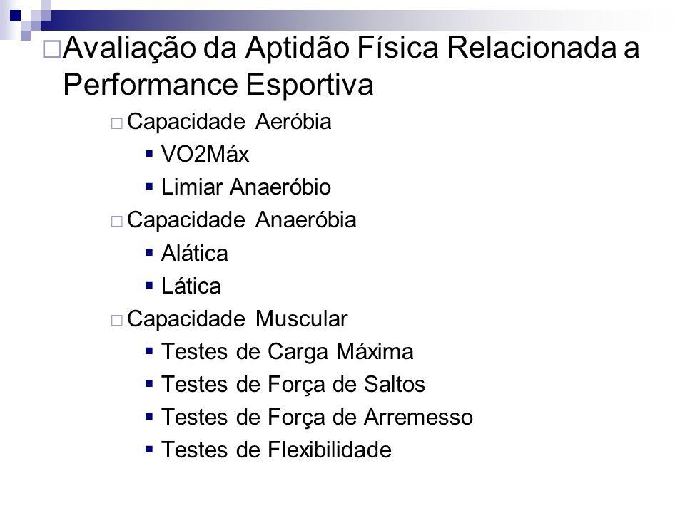 Avaliação da Aptidão Física Relacionada a Performance Esportiva Capacidade Aeróbia VO2Máx Limiar Anaeróbio Capacidade Anaeróbia Alática Lática Capacidade Muscular Testes de Carga Máxima Testes de Força de Saltos Testes de Força de Arremesso Testes de Flexibilidade