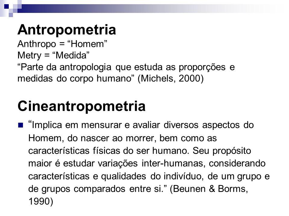 Antropometria Anthropo = Homem Metry = Medida Parte da antropologia que estuda as proporções e medidas do corpo humano (Michels, 2000) Cineantropometria Implica em mensurar e avaliar diversos aspectos do Homem, do nascer ao morrer, bem como as características físicas do ser humano.