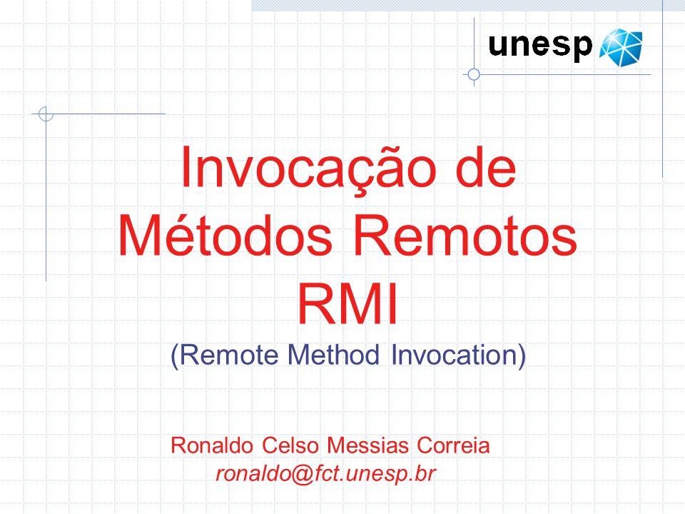 Ronaldo Celso Messias Correia ronaldo@fct.unesp.br Invocação de Métodos Remotos RMI (Remote Method Invocation)
