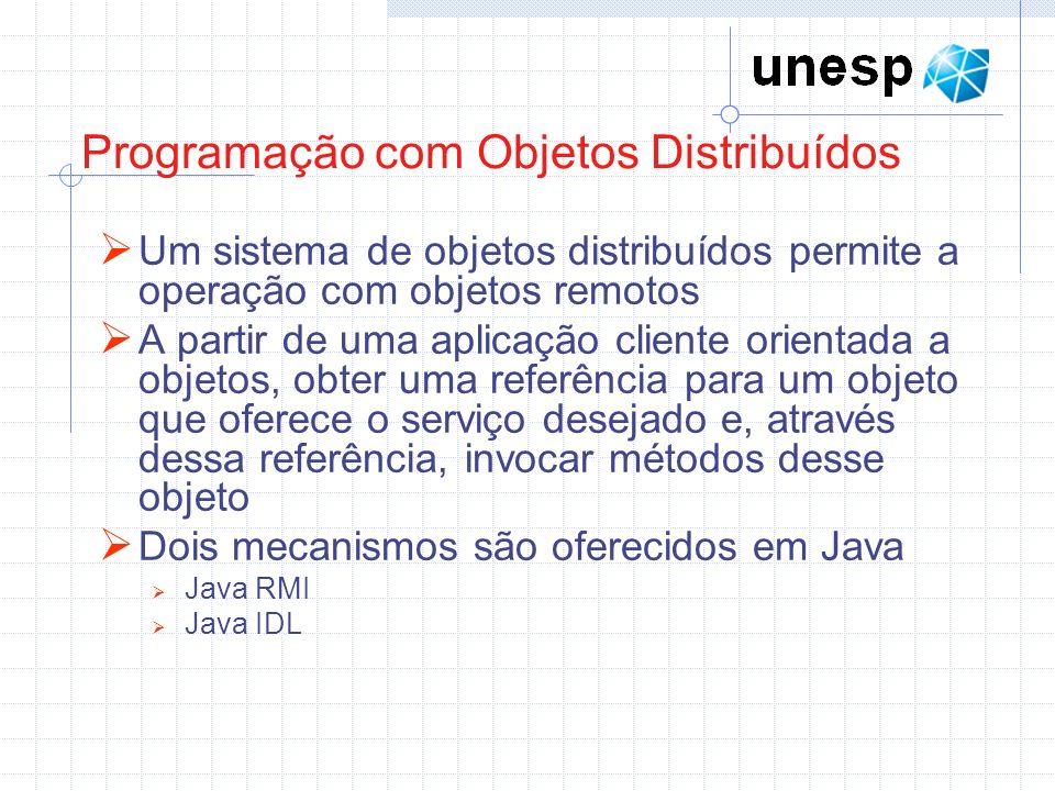 Programação com Objetos Distribuídos Um sistema de objetos distribuídos permite a operação com objetos remotos A partir de uma aplicação cliente orientada a objetos, obter uma referência para um objeto que oferece o serviço desejado e, através dessa referência, invocar métodos desse objeto Dois mecanismos são oferecidos em Java Java RMI Java IDL