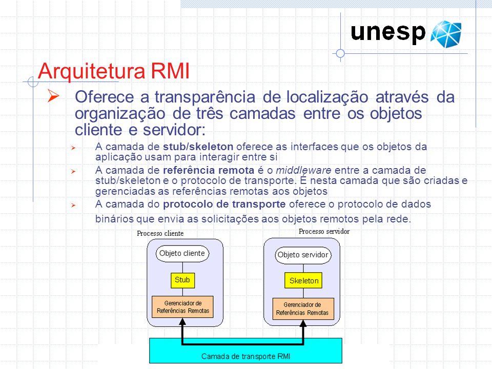 Arquitetura RMI Oferece a transparência de localização através da organização de três camadas entre os objetos cliente e servidor: A camada de stub/skeleton oferece as interfaces que os objetos da aplicação usam para interagir entre si A camada de referência remota é o middleware entre a camada de stub/skeleton e o protocolo de transporte.